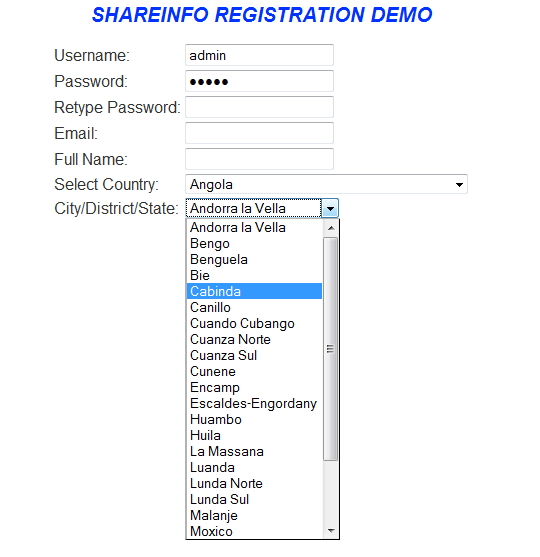 Add Dropdown Country & State List Dynamically into HTML form